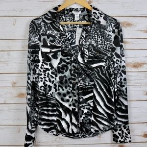 CACHE NWT Silky Button Animal Black White Top M